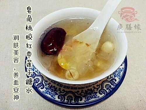 皂角米桃胶红枣糖水的做法