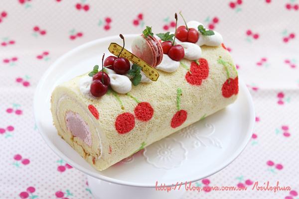 樱桃手绘双层蛋糕卷