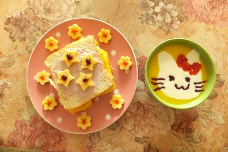 猫咪花朵儿童早餐