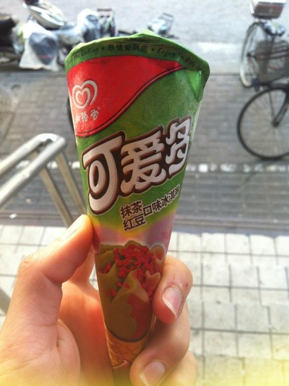 抹茶红豆口味可爱多