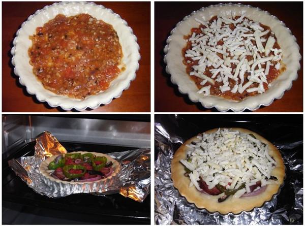 披萨制作过程:在饼底刷上一层披萨酱,要尽量涂匀,撒上一层马苏里拉丝