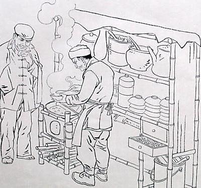 手绘古代小吃街