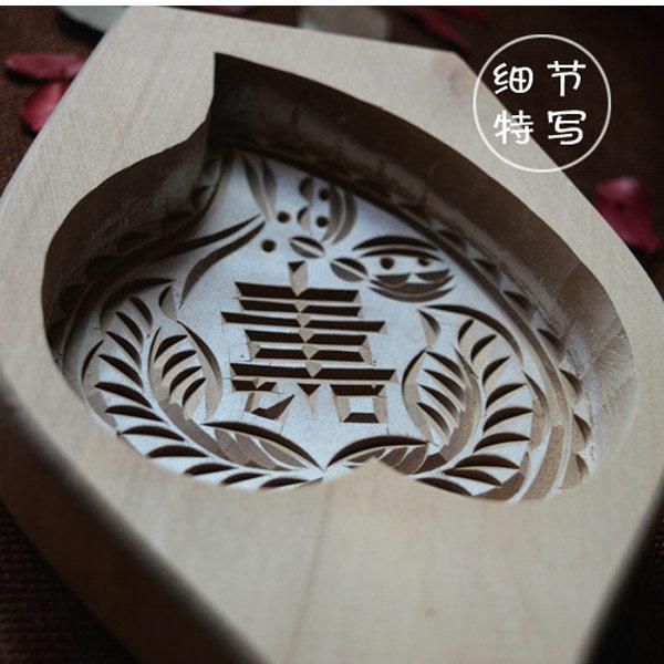 悦佳 传统手工雕刻大号寿桃模具祝寿桃形馒头南瓜饼桃酥木质模具一个