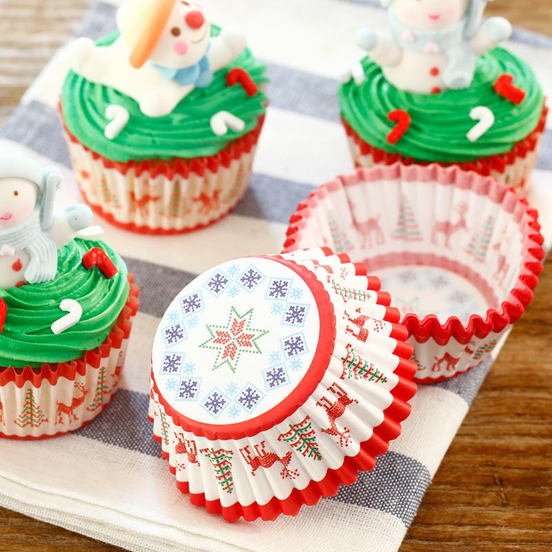 展艺耐高温 蛋糕纸杯纸垫纸托100只装 圣诞驯鹿 圆形